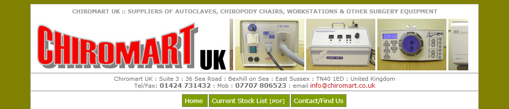 Chriomart Second hand Podiatry Equipment